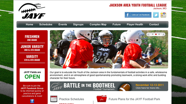 JAYF Football Website Design