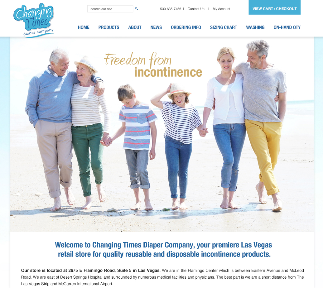 Website design for Incontinence Products